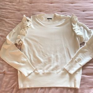 Long Sleeve Ruffle Zip Sweater